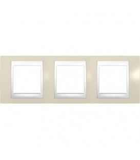 Рамка 3-я Unica Хамелеон Песчаный/Белый для горизонтального монтажа
