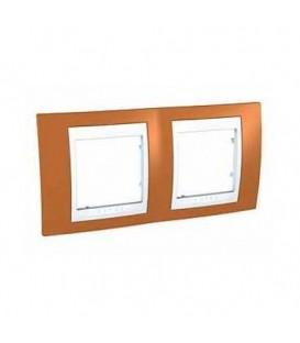 Рамка 2-я Unica Хамелеон Оранжевый/Белый для горизонтального монтажа