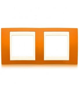 Рамка 2-я Unica Хамелеон Оранжевый/Бежевый для горизонтального монтажа