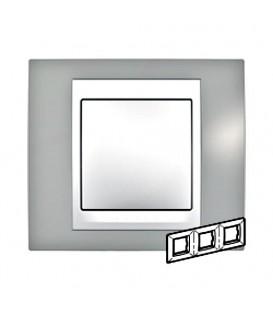 Рамка 3-я Unica Хамелеон Серый/Белый для горизонтального монтажа