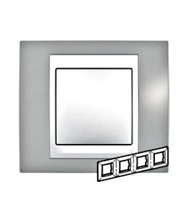 Рамка 4-я Unica Хамелеон Серый/Белый для горизонтального монтажа