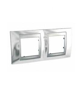 Рамка 2-я Unica TOP Хром/Алюминий для горизонтального монтажа
