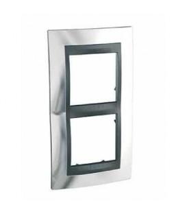 Рамка 2-я Unica TOP Хром/Алюминий для вертикального монтажа