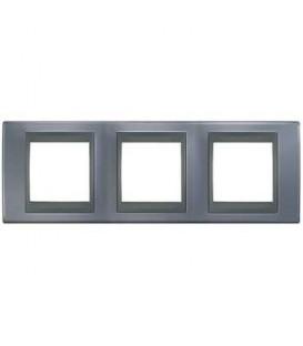 Рамка 3-я Unica TOP Металл Грей/Графит для горизонтального монтажа