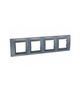 Рамка 4-я Unica TOP Металл Грей/Графит для горизонтального монтажа