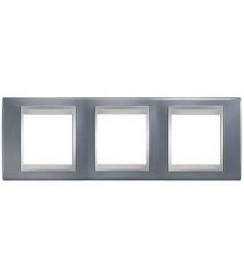 Рамка 3-я Unica TOP Металл Грей/Алюминий для горизонтального монтажа