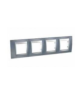 Рамка 4-я Unica TOP Металл Грей/Алюминий для горизонтального монтажа
