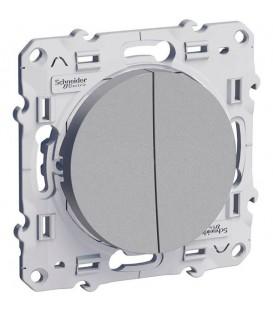 Двуклавишный выключатель 10А алюм ODACE c монтажными лапками