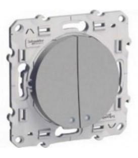 2-клавишный выключатель с окном для LED c монтажными лапками
