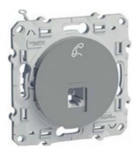Телефонная розетка RJ12, алюминий ODACE c монтажными лапками