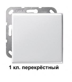 1 клавишный перекрёстный переключатель Gira 10700/29603 комплект Глянцевый белый