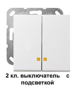 2 клавишный выключатель с подсветкой Gira 14500/63103 комплект Глянцевый белый