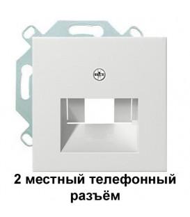 2 местный телефонный RJ11 разъём Gira EPUAE8-8UPO/27003 комплект Глянцевый белый