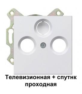 Телевизионная+спутник TV+FM+SAT проходная розетка Gira S4110/86903 комплект Глянцевый белый