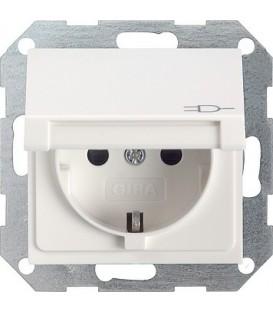Розетка с откидной крышкой с защитой от детей 16 А / 250 В~ Gira 41427 System 55 Белый матовый