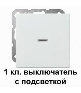 Клавишный выключатель с подсветкой проходной в сборе Gira 11200/29027 System 55 Белый матовый