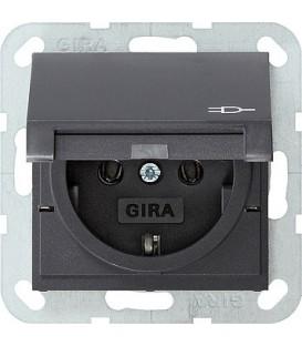 Розетка с откидной крышкой 16 А / 250 В~ Gira 45428 System 55 Антрацит