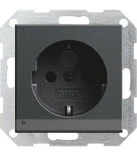 Розетка со светодиодной подсветкой с защитой от детей 16 А / 250 В~ Gira 117028 System 55 Антрацит