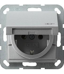 Розетка с откидной крышкой 16 А / 250 В~ Gira 45426 System 55 Алюминий