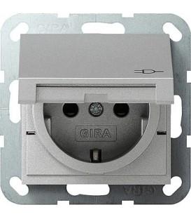 Розетка с откидной крышкой с защитой от детей 16 А / 250 В~ Gira 41426 System 55 Алюминий