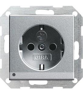 Розетка со светодиодной подсветкой с защитой от детей 16 А / 250 В~ Gira 117026 System 55 Алюминий