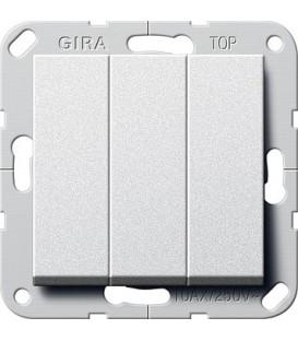 Выключатель 3 клавишный Gira G283026 System 55 Алюминий