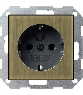 Розетка с защитой от детей 16 А / 250 В~ Gira 453603 System 55 Бронза/Чёрный