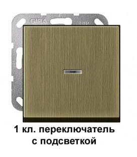 1 клавишный переключатель с подсветкой Gira 11600/290603 комплект Бронза