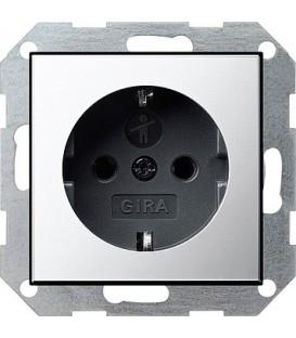Розетка с защитой от детей 16 А / 250 В~ Gira 453605 System 55 Хром/Чёрный