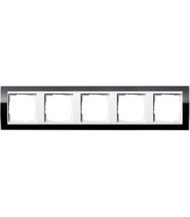 Рамка 5 мест Gira 215733 Esprit для центральных вставок белого цвета Черный