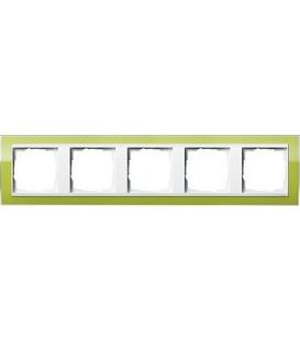 Рамка 5 мест Gira 215743 Esprit для центральных вставок белого цвета зеленый