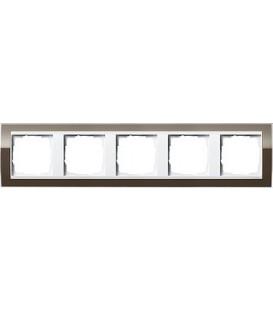 Рамка 5 мест Gira 215763 Esprit для центральных вставок белого цвета коричневый