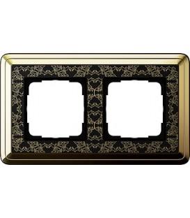 Рамка 2 места Gira 212672 ClassiX Art Латунь Чёрный
