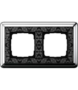 Рамка 2 места Gira 212682 ClassiX Art Хром Чёрный