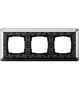 Рамка 3 места Gira 213682 ClassiX Art Хром Чёрный