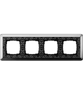 Рамка 4 места Gira 214682 ClassiX Art Хром Чёрный