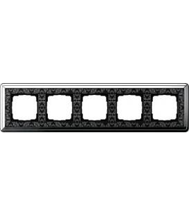 Рамка 5 мест Gira 215682 ClassiX Art Хром Чёрный