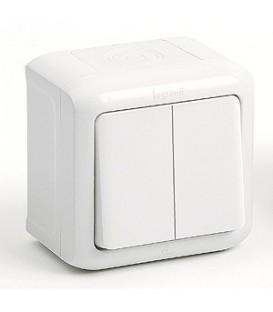 Выключатель 2-клавишный IP-44 Legrand Quteo (Белый)
