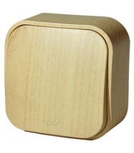 Проходной переключатель 1-клавишный 10А Legrand Quteo (Дерево)