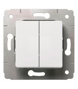 Выключатель 2-клавишный, 10АХ, 250В, белый, Cariva