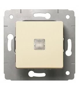 Выключатель 1-клавишный, с индикацией, 10АХ, 250В, слоновая кость, Cariva