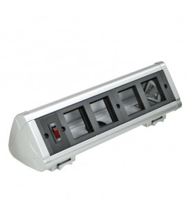Блок настольный с выключателем на 4 модуля (45х45мм) для крепления к столу (алюминий) ,IP20