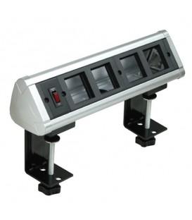 Блок настольный с выключателем на 4 модуля (45х45мм) на струбцинах (алюминий) , IP20