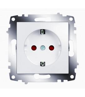 Розетка электрическая с заземлением со шторками ABB Cosmo (Белый)