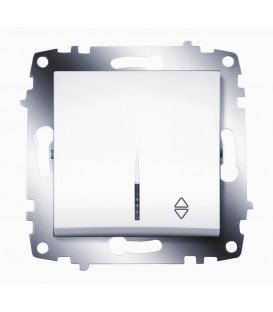 Переключатель одноклавишный ABB Cosmo с подсветкой (Белый)