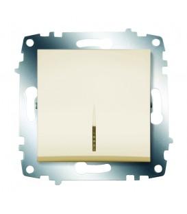 Выключатель одноклавишный ABB Cosmo с подсветкой (Кремовый)