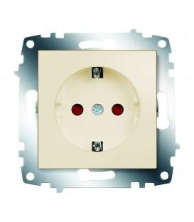 Розетка электрическая с заземлением со шторками ABB Cosmo (Кремовый)