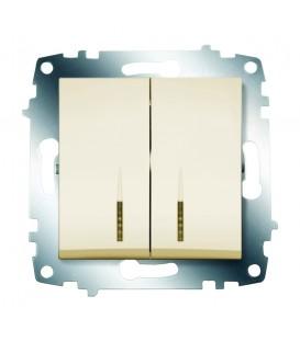 Выключатель двухклавишный ABB Cosmo с подсветкой (Кремовый)