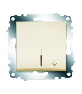 Кнопка одноклавишная ABB Cosmo с подсветкой (Кремовый)