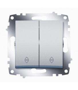 Переключатель двухклавишный ABB Cosmo (Алюминий)